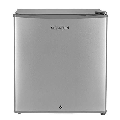 Stillstern Mini-Kühlschrank A++ (45 L) mit Abtauautomatik und Schloss, Leise, Ideal für Küche, Büro, Schlafzimmer, Hotels und kleine Wohnungen, Silber