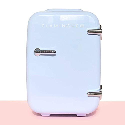 Flamingueo Kühlschrank Klein - Kleiner Kühlschrank 4L, Retro Kühlschrank, Kosmetik Kühlschrank 12V/220V, Skincare Fridge, Funktionen zum Kühlen und Heizen, Minikühlschränke, Outdoor Kühlschrank