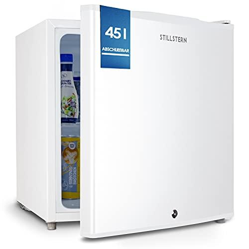 Stillstern Mini Kühlschrank E 45L mit Abtauautomatik, Schloss, Frostfach, Leise, Ideal für Küche, Büro, Schlafzimmer, Hotels und kleine Wohnungen Kühlschrank klein Minibar Getränkekühlschrank