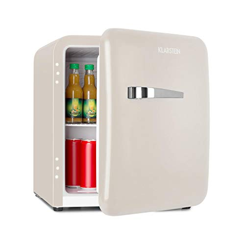 Klarstein Audrey Retro - Kühlschrank, sparsam und umweltfreundlich, 0 bis 10 °C, 48 Liter Fassungsvermögen, beige