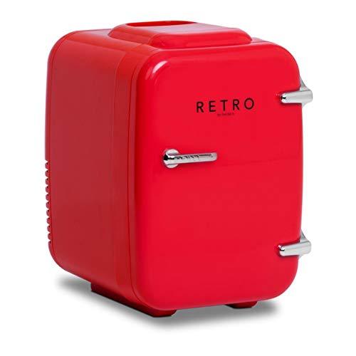 bredeco BCMF-4L-S Mini Kühlschrank Minikühlschrank Tischkühlschrank Kühlschrank Mini Retro Kühlschrank klein Kleinkühlschrank Mini Kühlschrank retro 4 L rot