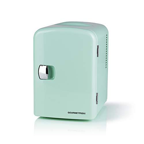GOURMETmaxx Mini-Kühlschrank Retro | Bar Kühlschrank für Getränke und Snacks | Minibar zum Kühlhalten von Alkohol, Essen oder Erfrischungsgetränken (Mint)
