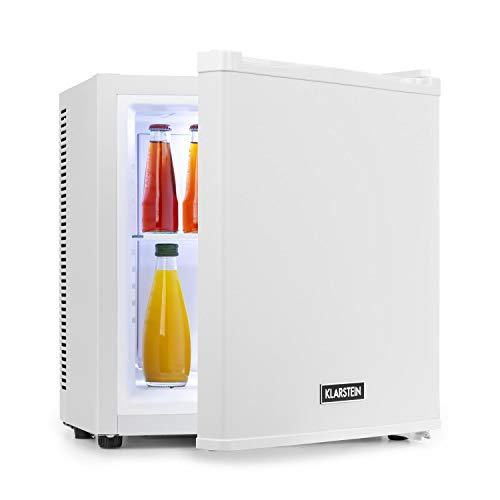 Klarstein Secret Cool Mini-Kühlschrank Mini-Bar, 13 Liter, 45 cm Höhe, 0 dB, Lautlos, Geräuchlos, Kühlbereich: 5-8 °C, freistehend, Getränkekühlschrank, Minibar, weiß