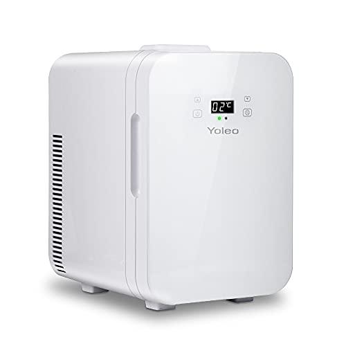 YOLEO mini Kühlschrank 10L, Warmhaltebox Kühlbox Auto mit Kühl- und Heizfunktion, -9~65 ℃ Temperatureinstellbar LED-Anzeige, Wechselstrom + 12V DC-Energie für Schlafzimmerbüro RV Auto