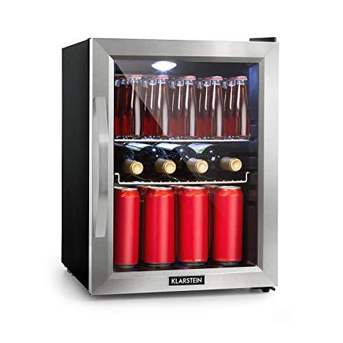 Klarstein Beersafe - Minibar, Mini-Kühlschrank, Getränkekühlschrank, leise, 42 dB, Edelstahl, Glastür, 5-stufiger Temperaturregler, 2 Einschübe, 35 Liter, Silber-schwarz