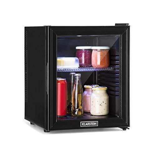Klarstein Brooklyn - Kühlschrank mit Glastür - Mini-Kühlschrank, Mini-Bar, 0 dB, 12-15 °C, Kunststoff-Einsatz, LED-Innenbeleuchtung, Glastür, für Single- und Kleinhaushalte, 32L, schwarz