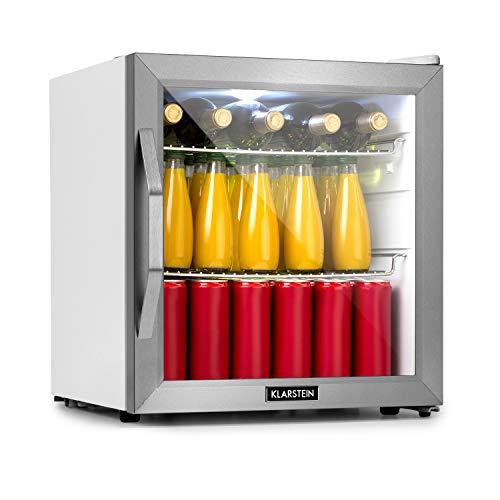 Klarstein Beersafe L Crystal White Kühlschrank mit Glastür - Mini-Kühlschrank, Mini-Bar, 47 Liter Fassungsvermögen, nur 42 dB, LED-Innenbeleuchtung, 2 Metallroste, Edelstahlrahmen, weiß