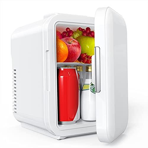 Lifelf Mini Kühlschrank, 4 Liter / 6 Dosen, mobiler Auto Kühlschrank mit Kühl– und Heizbetrieb, AC 220V / DC 12V, 68W Stromverbrauch niedrig, für Auto Büro Küche Schülerheim Gartenhaus.
