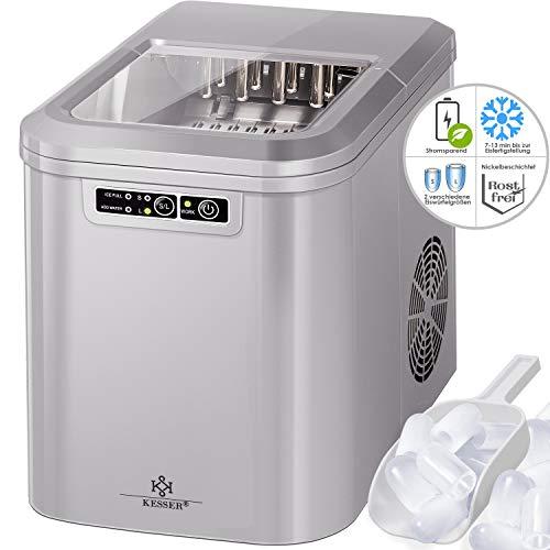 Kesser Eiswürfelbereiter | Eiswürfelmaschine Edelstahl | Ice Maker | 12 kg 24 h | Zubereitung in 7 min | 2,2 Liter Wassertank | 2 Eiswürfel-Größen | LED-Display | Selbstreinigungsfunktion |