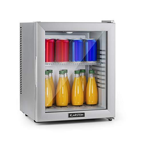 Klarstein Brooklyn - Minibar Mini-Kühlschrank, thermoelektrisches Kühlsystem, 3-stufige Kühlung: bis 12 °C, EcoExcellence System:, geräuschlos: 0 dB, 24 Liter, silber