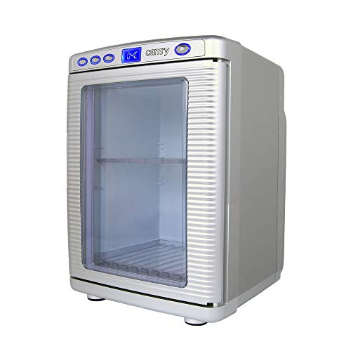 CAMRY 20L Camping Kühlschrank Auto&Steckdose Mini Kühlbox Minibar kleiner Weinkühler, Silber