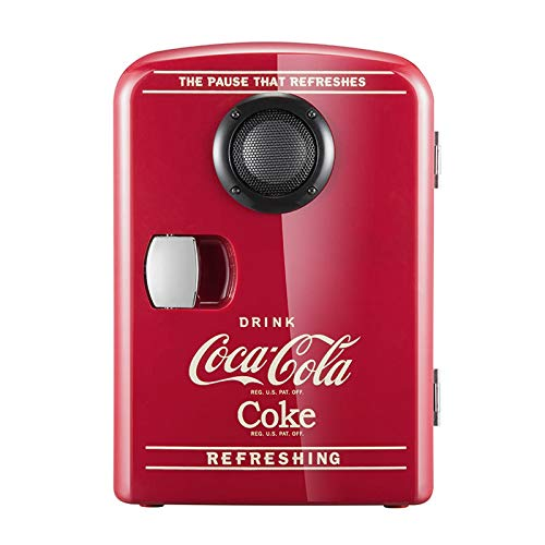 2in1 Mini Kühlschrank, Cocá-Colá Bluetooth-Lautsprecher Auto Nach Hause Kühlschrank, AC + DC Power Kompatibilität Schlafsaal Student Kosmetik Warm Und Warm Box Geschenk 4L