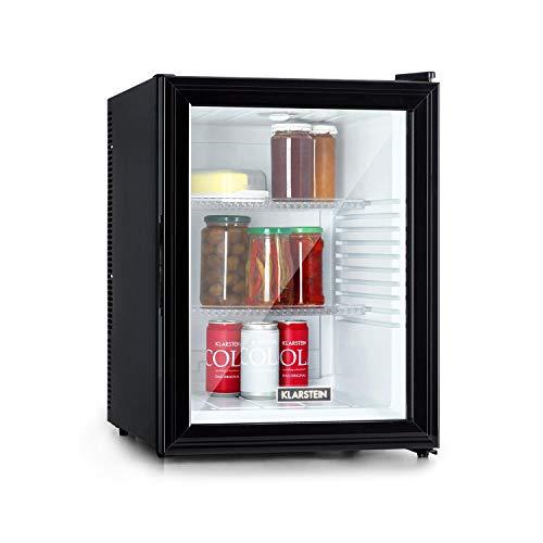Klarstein Brooklyn - Kühlschrank mit Glastür - Mini-Kühlschrank, Mini-Bar, 0 dB, 12-15 °C, Kunststoff-Einsatz, LED-Innenbeleuchtung, Glastür, für Single- und Kleinhaushalte, 42L, schwarz-weiß
