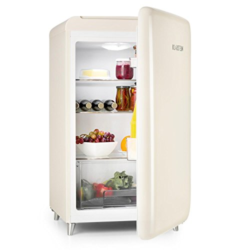 Klarstein PopArt-Bar - Retro-Kühlschrank, Mini-Kühlschrank, 136 Liter Fassungsvermögen, Retro-Look, Türanschlag rechts, Fifties-Style, Gemüsefach, creme