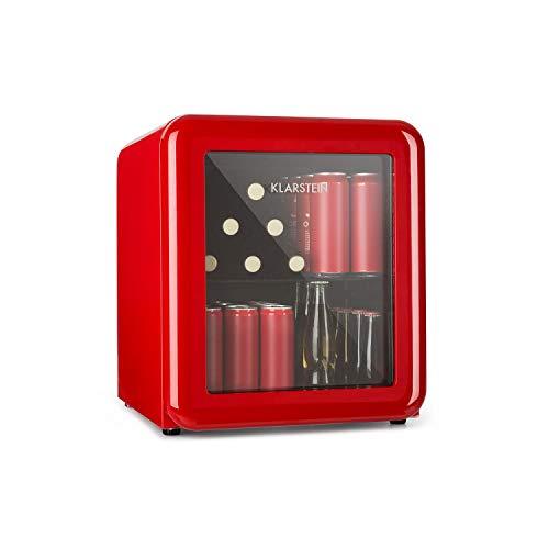 Klarstein PopLife Getränkekühler - Mini-Bar, Retrokühlschrank, 0-10°C, nur 39 dB, 48 L, umweltfreundlich, doppelt verglaste Tür, Retro-Design, rot