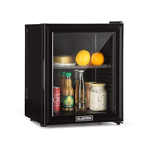 Klarstein Brooklyn - Kühlschrank mit Glastür - Mini-Kühlschrank, Mini-Bar, 0 dB, 12-15 °C, Kunststoff-Einsatz, LED-Innenbeleuchtung, Glastür, für Single- und Kleinhaushalte, 24L, schwarz