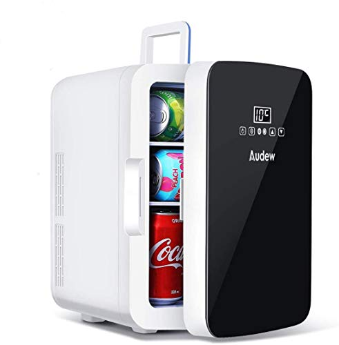 Audew Mini Kühlschrank 10L Mini Bar 12V/220V Auto Kühlschrank -9℃~65℃ mit Kühl- und Heizfunktion Temperaturregelung 2 in 1 Kühlschrank für Auto&Haus