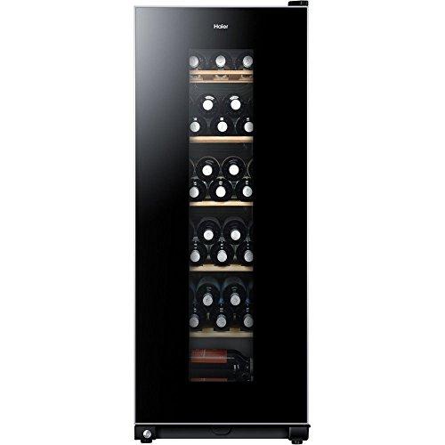 Haier WS59GAE Weinkühlschrank / 59 Flaschen / 127 cm Höhe / UV-Schutz / LED-Display zur Temperatureinstellung / Innenbeleuchtung,Schwarz