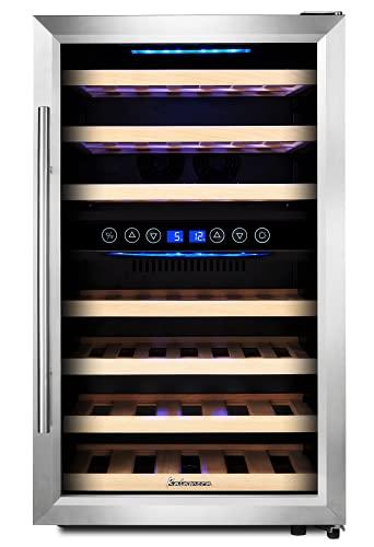 Kalamera Weinkühlschrank 2 zonen, 120 Liter, 45 Flaschen (bis zu 310 mm Höhe), zwei Temperaturzonen 5-10°C/10-18°C,LED-Display, Edelstahl Glastür,KRC-45BSS