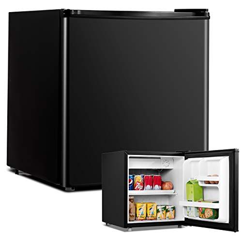 COSTWAY 48L Mini Kühlschrank Flaschenkühlschrank Getränkekühlschrank mit Gefrierfach/wechselbarer Türanschlag / 7 Temperaturstufe einstellbar / 49cm Höhe (Schwarz)