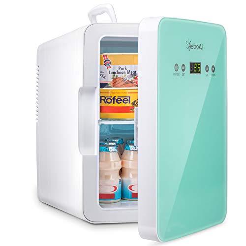 AstroAI Mini Kühlschrank 6 Liter / 8 Dosen Fridge mit Temperaturregelung - AC/12V(220V) DC Tragbarer thermoelektrischer Kühler und Wärmer für Schlafzimmer, Kosmetik, Muttermilch, Büro und Reisen