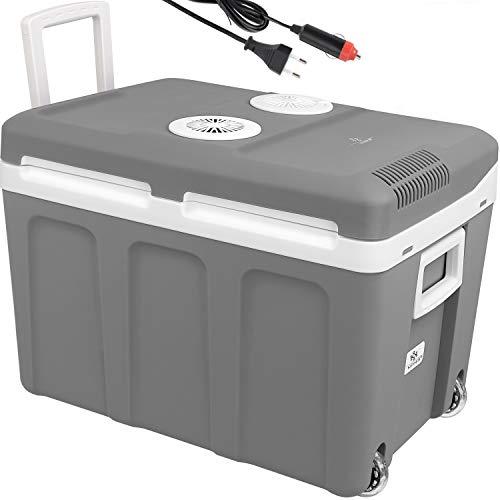 KESSER 40L Kühlbox mit Rollen | zum Warmhalten und Kühlen | thermo-Elektrische Kühlbox | 12 Volt und 230 Volt| Mini-Kühlschrank | Thermobox für Auto| Boot und Camping | EEK A++ mit ECO Modus Grau