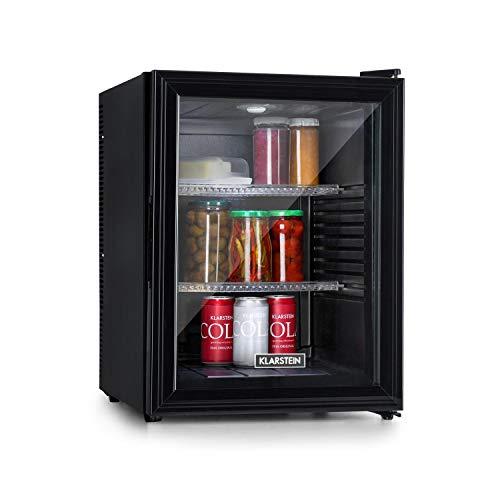 Klarstein Brooklyn - Kühlschrank mit Glastür - Mini-Kühlschrank, Mini-Bar, 0 dB, 12-15 °C, Kunststoff-Einsatz, LED-Innenbeleuchtung, Glastür, für Single- und Kleinhaushalte, 42L, schwarz