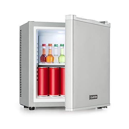 Klarstein Secret Cool Mini-Kühlschrank - Mini-Bar, EEK A+, 13 Liter, 45 cm Höhe, 0 dB, Lautlos, Geräuchlos, Kühlbereich: 5-8 °C, freistehend, Getränkekühlschrank, Minibar, silber