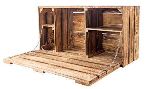 stabile geflammte Holzkiste, schön als Hängeschrank/Minibar antik mit Klapptür   81x41x31cm   Neu   für Unterlagen oder auch als Hängebar Obstkiste   Weinkiste   Apfelkiste