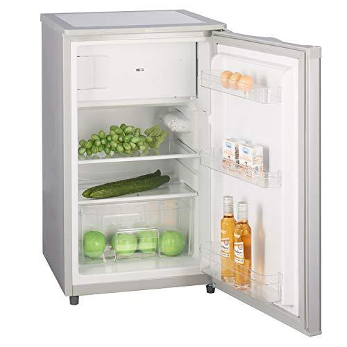 Stillstern Kühlschrank mit Gefrierfach E (88L) 4-Sterne-Gefrierfach und LED-Beleuchtung, Abtauautomatik, Glasablagen, Gemüsefach, Türablagen, Kühlschrank klein Getränkekühlschrank