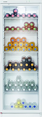 Bomann KSG 239.1 Glastür-Getränke-Flaschen-Kühlschrank, 320 L, HxBxT 173x60x60 cm, LED-Innenraumbeleuchtung, Weiß