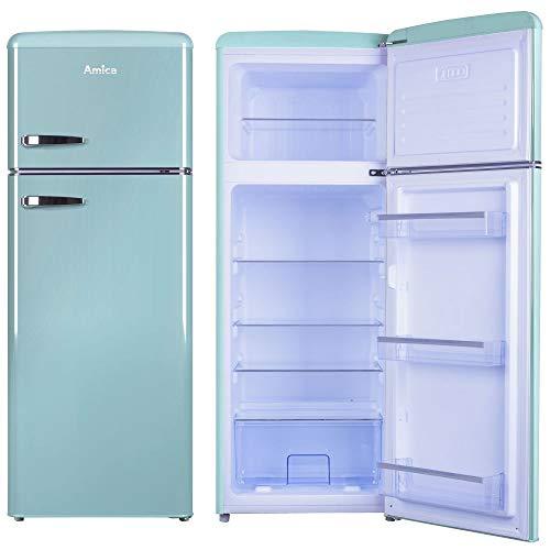 Amica Retro Kühl-/Gefrierkombination Blau KGC 15632 T 206 Liter mit **** Gefrierfach Ice Blue