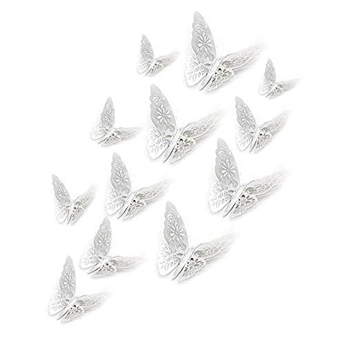 SHUJINGNCE 12 stücke 3D Hohl Schmetterling Wandaufkleber für Wohnkultur DIY Schmetterlinge Kühlschrank Aufkleber Raumdekoration Party Hochzeit Dekor (Color : Gold)