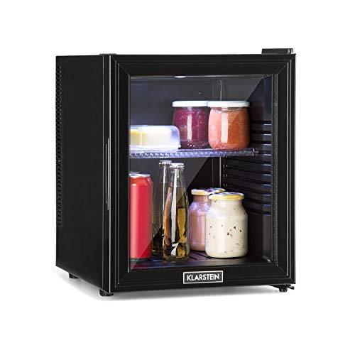 Klarstein Brooklyn 32L Kühlschrank mit Glastür - Mini-Kühlschrank, Mini-Bar, 32 L, 0 dB, 12-15 °C, Kunststoff-Einsatz, LED-Innenbeleuchtung, Glastür, für Single- und Kleinhaushalte, schwarz