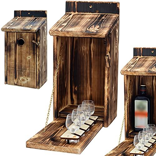 Alcohol Cage - Holz Vogelhaus mit Platz für Flasche Schnaps und Glas Lustige Geschenke Männer für den Garten Zwitscherbox mit Minibar Lustig Geschenk zum Geburtstag für Mann Vatertagsgeschenk