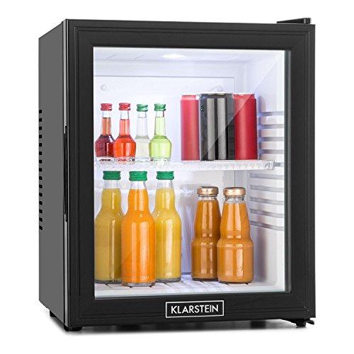 Klarstein MKS-13 - Minibar, Mini-Kühlschrank, Getränkekühlschrank, 32 Liter, geringer Energieverbrauch, leiser Betrieb, 1 Regaleinschub, höhenverstellbar, Glastür, schwarz