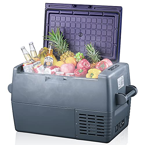 Decen 45 Liter Kompressor-Kühlbox 12/24V und 230V Elektrischer Kühlschrank für Camping, Auto oder LKW mit Steckdose und Zigarettenanzünderanschluss (45L)