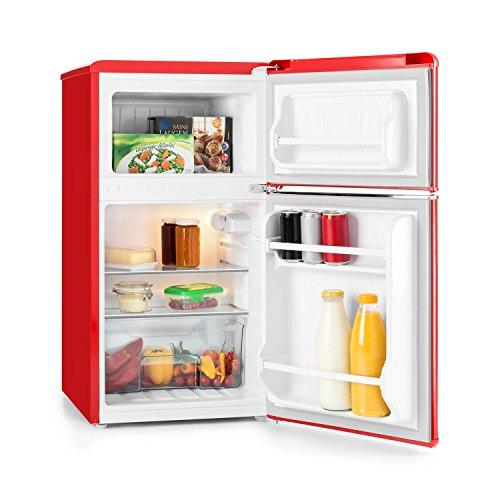 Klarstein Monroe Kühl- und Gefrierkombination Retro Mini-Kühlschrank (61 Liter Volumen, 24 Liter Gefrierfach, 2 Glas-Ablagen, Gemüsefach, 2 Türablagen, 40 dB leise) rot