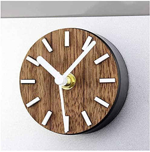DSADDSD Home Wanduhr Nicht Ticking Batteriebetriebener Magnet Kühlschrank Küche Einfache Design Kleine Runde Aufkleber Dekorative Silent Quarz Holz QQB Home